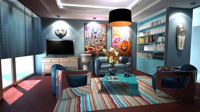 pestrobarevná místnost